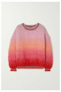 Rose Carmine - Lurex-trimmed Ombré Mohair-blend Sweater - Pink