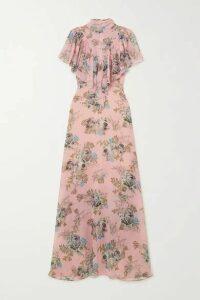 Preen by Thornton Bregazzi - Ruffled Floral-print Georgette Maxi Dress - Pink
