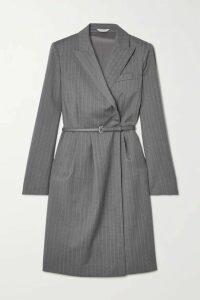 Max Mara - Martin Belted Pinstriped Wool Wrap Dress - Gray