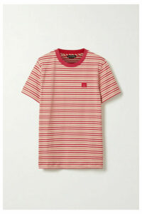 Acne Studios - Ellison Face Appliquéd Striped Cotton-jersey T-shirt - Red