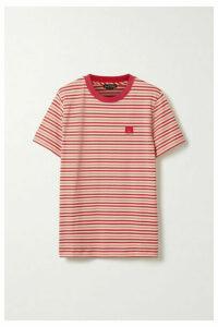Acne Studios - Ellison Face Appliquéd Striped Cotton-jersey T-shirt - Red