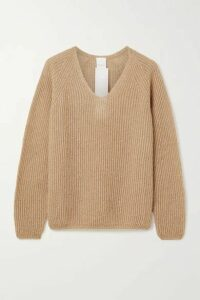 Max Mara - Leisure Posato Metallic Ribbed Open-knit Sweater - Camel