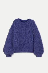 I Love Mr Mittens - Diamond Oversized Cable-knit Wool Sweater - Blue