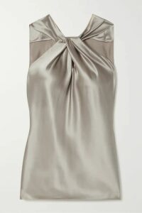 Theory - Twist-front Silk-blend Satin Top - Silver