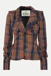 Vivienne Westwood - Gathered Checked Cotton-twill Blazer - Navy