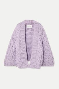 I Love Mr Mittens - Cable-knit Wool Cardigan - Lilac
