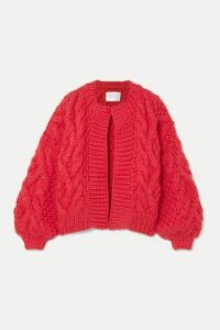 I Love Mr Mittens - Aran Cable-knit Wool Cardigan - Red