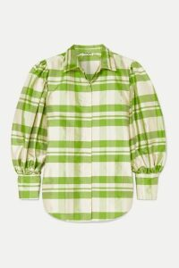 AVAVAV - Checked Silk-charmeuse Blouse - Green