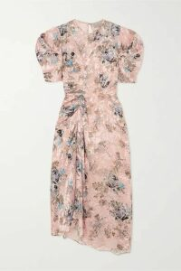 Preen by Thornton Bregazzi - Pippa Ruched Floral-print Devoré-satin Midi Dress - Pink