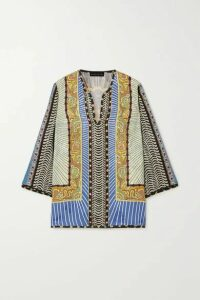 Etro - Printed Floral-jacquard Blouse - Light blue
