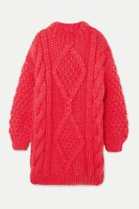 I Love Mr Mittens - Diamond Oversized Cable-knit Wool Sweater - Pink