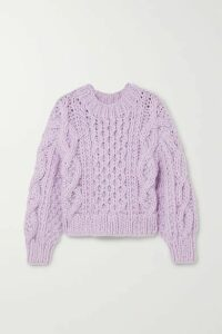 I Love Mr Mittens - Cropped Aran Cable-knit Wool Sweater - Lilac