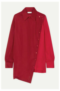 TRE by Natalie Ratabesi - The Anita Oversized Two-tone Silk Crepe De Chine Shirt - Red