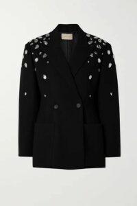Christopher Kane - Double-breasted Crystal-embellished Crepe Blazer - Black