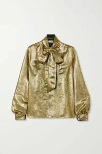 SAINT LAURENT - Pussy-bow Silk-blend Lamé Blouse - Gold