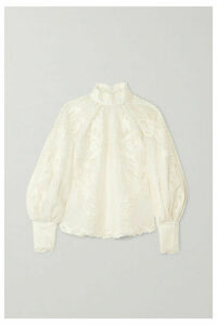 Zimmermann - Super Eight Embroidered Linen And Silk-blend Blouse - Ivory