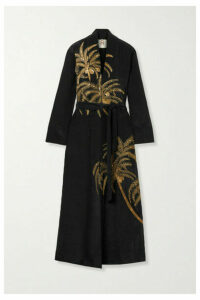 Figue - Olatz Embellished Embroidered Crepe De Chine Kimono - Black