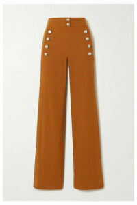 Chloé - Button-embellished Stretch-wool Wide-leg Pants - Brown