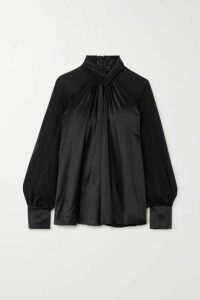 Max Mara - Enna Knotted Silk-satin And Chiffon Blouse - Black