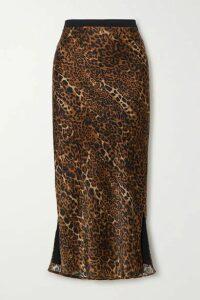 Cami NYC - The Jessica Leopard-print Silk-charmeuse Midi Skirt - Brown