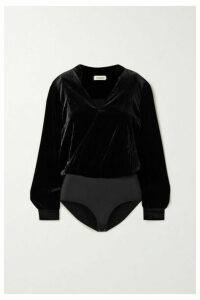 L'Agence - Marcella Wrap-effect Velvet And Stretch-jersey Bodysuit - Black