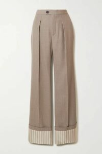 Chloé - Pleated Wool And Pinstriped Silk Wide-leg Pants - Green