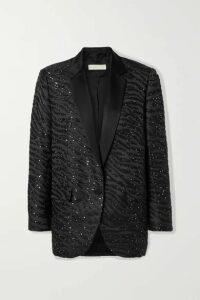MICHAEL Michael Kors - Satin-trimmed Sequin-embellished Zebra-jacquard Blazer - Black