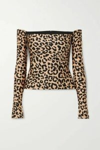 Halpern - Off-the-shoulder Leopard-print Stretch-jersey Top - Leopard print