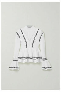 Self-Portrait - Whipstitched Cotton Peplum Sweater - White