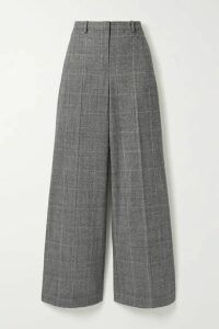 Theory - Prince Of Wales Checked Wool-blend Wide-leg Pants - Black