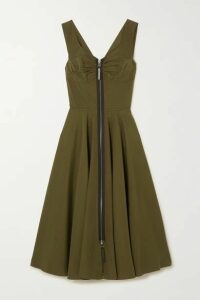 Marni - Leather-trimmed Cotton-poplin Midi Dress - Army green