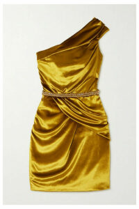 Ralph & Russo - Crystal-embellished Draped Velvet Mini Dress - Mustard