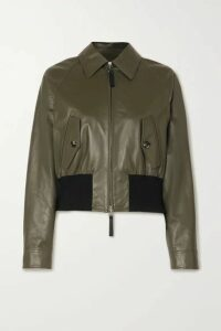 Marni - Leather And Cotton-blend Bomber Jacket - Army green