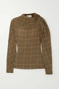 By Malene Birger - Diora Gathered Prince Of Wales Checked Crepe Blouse - Camel