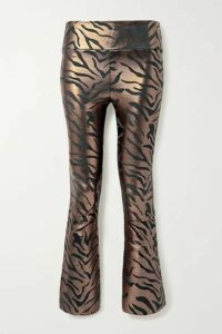 SPRWMN - Cropped Metallic Zebra-print Leather Flared Pants - Copper