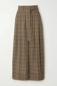 By Malene Birger - Dinard Cropped Prince Of Wales Checked Crepe Wide-leg Pants - Camel