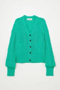 Lanvin - Cable-knit Cotton Cardigan - Turquoise