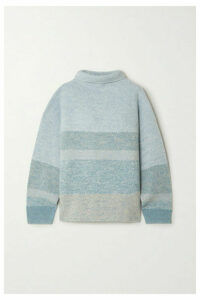 Le Kasha - Kinsale Striped Cashmere Turtleneck Sweater - Light green