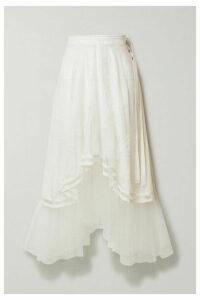 Chloé - Asymmetric Embroidered Tulle Midi Skirt - Ivory