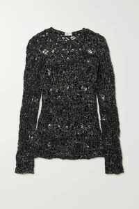 SAINT LAURENT - Sequined Distressed Open-knit Sweater - Black