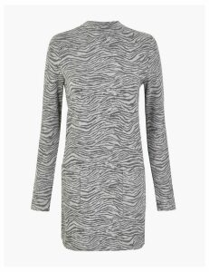 M&S Collection Animal Print Longline Long Sleeve Top
