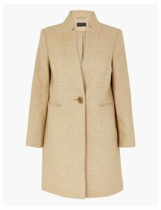 M&S Collection Checked Notch Neck City Coat