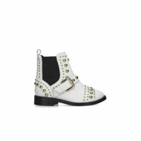Kurt Geiger London Mini Stinger - White Studded Ankle Boots Ages 2-7