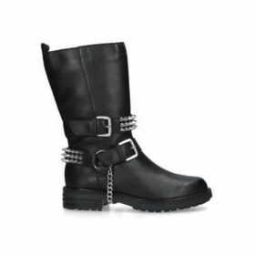 Carvela Savage - Black Studded Buckle Detail Biker Boots
