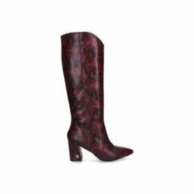 KG Kurt Geiger Sunny - Red Snake Print Block Heel Knee High Boots