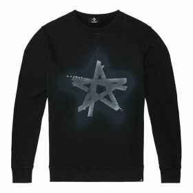 Distressed Faded Dye Black Star Long-Sleeve Crew