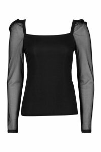 Womens Rib Mesh Top With Square Neck - black - 14, Black