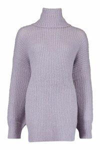 Womens Oversized Chunky Roll Neck Knit Jumper - purple - M/L, Purple