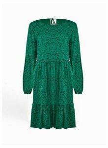 Womens Green Animal Print Smock Dress, Green
