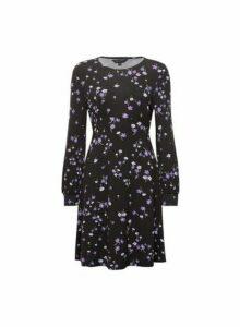 Womens Black And Lilac Floral Print Empire Line Dress, Black